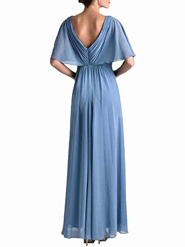 195cb481f803 EEFZL Women s Beaded Lotus Leaf Mother of The Bride Dresses Chiffon Wedding  Guest Prom Bridesmaid Dress Dusty Rose 18 Plus
