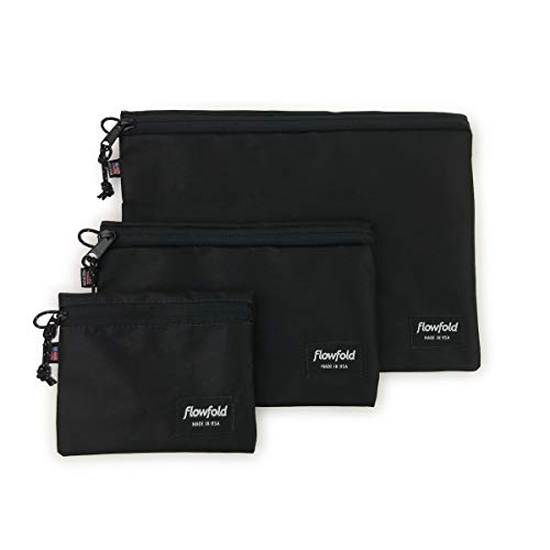 Flowfold Travel Kit Set of Three Light and Durable Travel Pouches, Multi Sized (Jet Black)