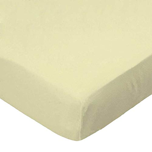 SheetWorld Fitted 100% Cotton Jersey Pack N Play Sheet Fits Graco Square Playard 36 x 36, Soft Yellow, Made in USA