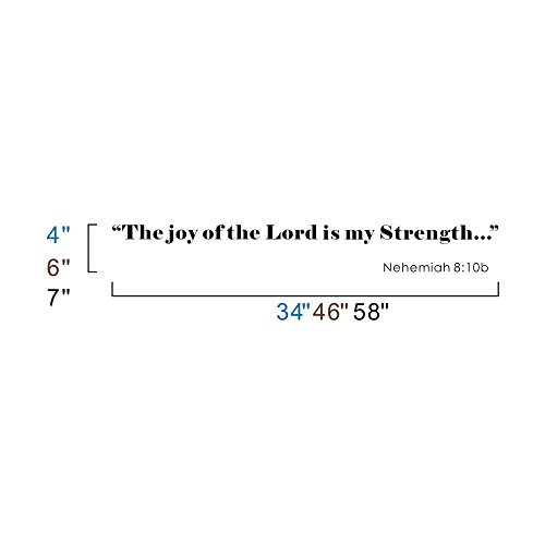 Wall Decal Scripture NEHEMIAH 8:10 The Joy of the Lord is my Strength Wall Quote (Dark Brown, Small)