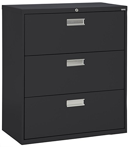 Sandusky Lee LF6A423-09 600 Series 3 Drawer Lateral File Cabinet, 19.25'' Depth x 40.875'' Height x 42'' Width, Black