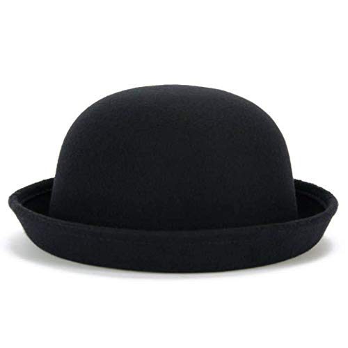 Lujuny Classic Wool Round Bowler Hats - Trendy Derby Fedora Bucket Caps with Roll-up Brim for Youth Girl Petite Women (Black) -