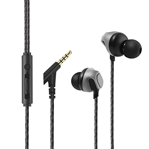 Earbuds, Besiva in-Ear Headphones Noise Isolation Headsets Heavy Bass Earphones Microphone Compatible iPhone Samsung iPad Most Android Phones (Grey)