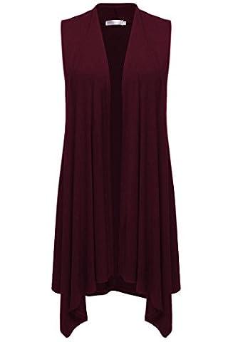 Beyove Women's Sleeveless Lightweight Knit Draped Open Cardigan Wine Red L - Draped Sleeveless