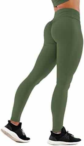 c76c879605 SEASUM Women Scrunch Butt Yoga Pants Leggings High Waist Waistband Workout  Sport Fitness Gym Tights Push