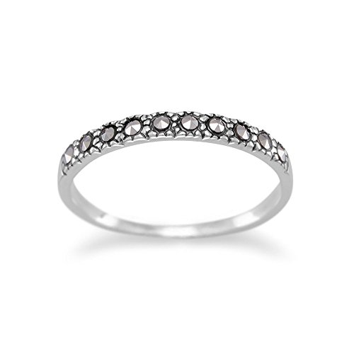 (Sterling Silver Band Ring with Ten Marcasite Stones 2mm Wide, Size 7)