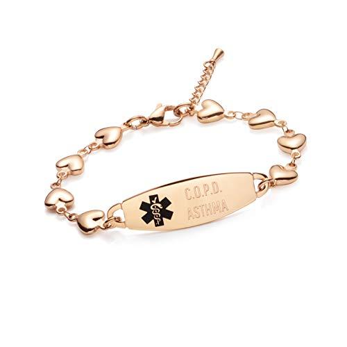 linnalove-Fashion Rose Gold Gold Heart Chain Medical Alert id Bracelet for Women & Girl-Asthma (Asthma Medical Alert Bracelet)