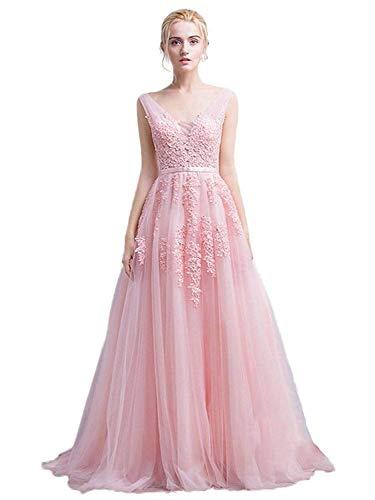 Sexy Deep V-Neck Long Sleeve Lace Beach Dress See-Through Maxi Dress (Pink,4)