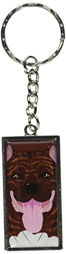 (Graphics and More Pit Bull Full Face Brindle Pitbull American Staffordshire Terrier Dog Pet Keychain Ring (K7303))