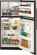 Ge Black Top Freezer Refrigerator (GE ENERGY STAR 18 CU. FT. TOP FREEZER REFRIGERATOR, CLEANSTEEL/BLACK CASE, REVERSIBLE DOOR SWING)