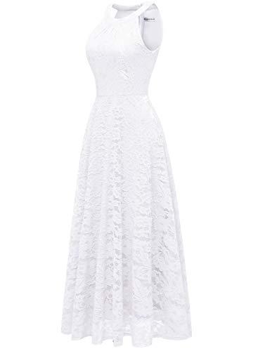 Lang Floral Schulterfrei Abendkleid Ärmellos Weiß Maxi MUADRESS Damen Spitzenkleid xqI00C