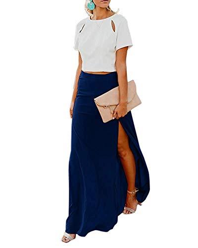 Hestenve Womens High Waisted Side Split Flowy Chiffon Long Maxi Skirt Navy Chiffon Side Zip Skirt