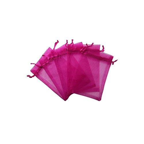 RakrisaSupplies 100Pcs Hot Pink Organza Bags 3x4