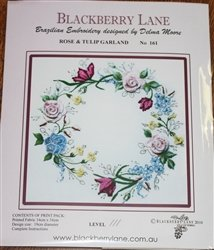 - Rose & Tulip Garland - Blackberry Lane Brazilian Embroidery pattern #161