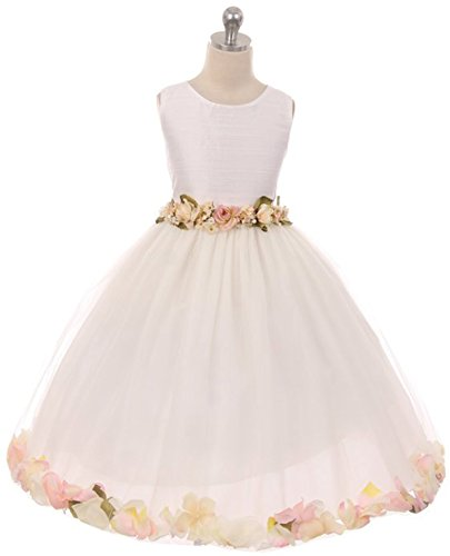 Victorian Petal - Kiki Kids 6427 Natural Silk Classic Victorian Petal Dress with Detachable Flower Waist Pin Tea Length Ivory Size 8