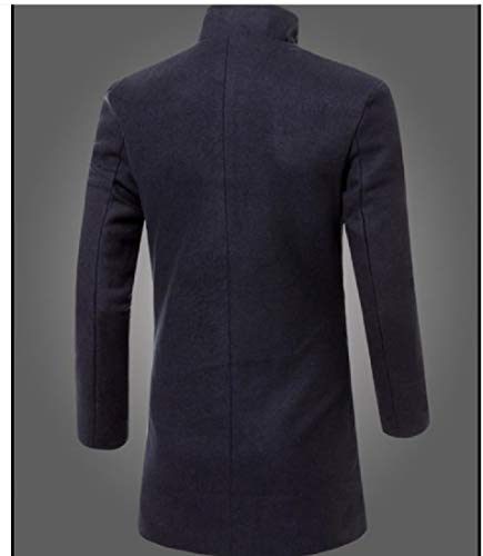 Howme Jacket blue Solid Turn Overcoat Navy Color Men Collar Down Single Breasted r4zrxP