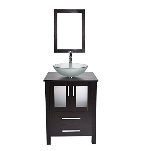 24-Inch Bathroom Vanity with Frosted Tempered Glass Vessel Sink Round Bowl, Modern Stand Pedestal Cabinet, Frame Mirror, Chorme Faucet & Pop-up Drain (Frosted Glass Vessel Pedestal Vanity)