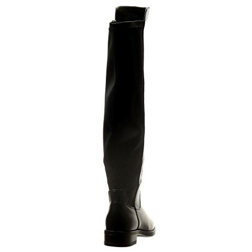 Angkorly - Zapatillas de Moda Botas flexible mujer Talón Tacón ancho 2.5 CM - Negro