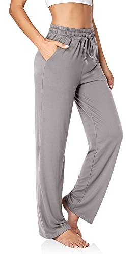 UEU Women's Comfy Yoga Pants Loose Workout Sweatpants Wide Leg Lounge Long Palazzo Pants with Pockets