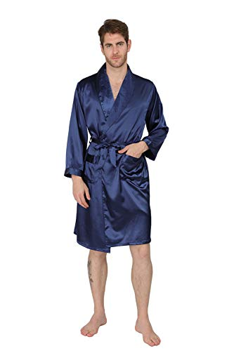 MAGE MALE Men's Summer Luxurious Kimono Soft Satin Robe with Shorts Nightgown Long-Sleeve Pajamas Printed Bathrobes (Navy, XS) -