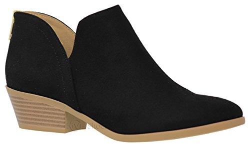 MVE Shoes Cute Western Cowboy Bootie - Womens Pointed Toe Slip on Ankle Boot -Back Zip up Low Heel Black 7.5