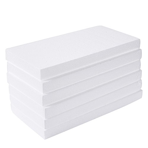 Craft Foam Block - 6-Pack Rectangle Polystyrene Foam Brick - Styrofoam Blocks for Sculpture, Modeling, DIY Arts and Crafts - White, 12 x 6 x 1 inches from Juvale