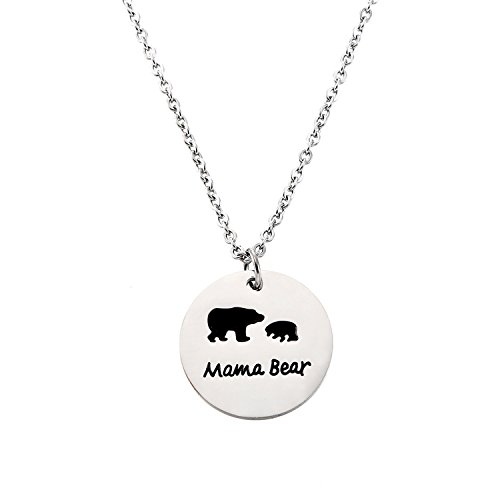 Pendant 1 Mama (YOLANDA Sweet Family Mama Bear Necklace Stainless Steel Bear Cubs Pendant Gift for Mother (One Bear Cub))