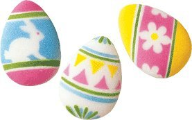 Easter Large Decorated Eggs Edible Sugar Decorations for Cakes and Cupcakes/Food Decoration 4 count
