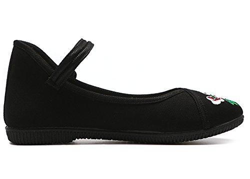 Black tacón con zapatos confort para flor planos atlético cordones alpargatas de cerrado tela Zapatos zapatos de GLSHI bordados mujer primavera informal baile verano wOaFnBxvpq