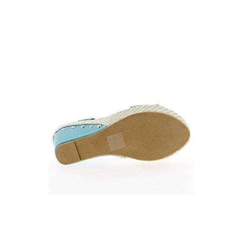 Sandales compensées bleues à talons de 10,5 cm et plateau de 3,5 cm