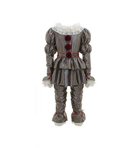 HICOSER Halloween Scary Clown Deluxe Movie Cosplay Costume Adult Dress Up Outfit Full Set Suit (XXX-Large, Dark Grey) -