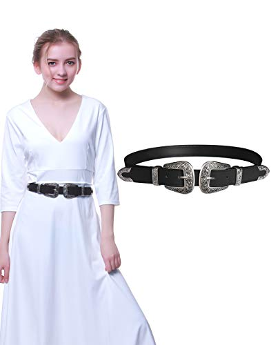 Western Belts for Women, Vintage Design Leather Belt with Western-style Buckle, Black Waist Belt for Pants Jeans Dresses (Black-Double buckle, 27Inch(Suit waist 32.5