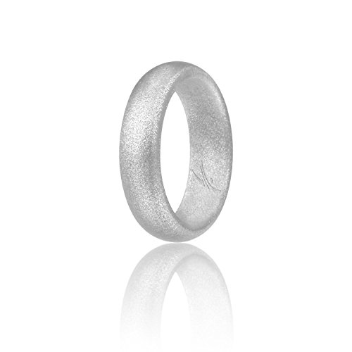 ROQ Silicone Wedding Ring for Women, Affordable Silicone Rubber Band, Silver - Size 4
