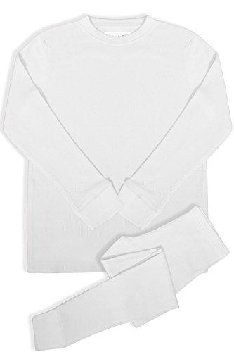 - BASICO Women's 2pc Long John Thermal Underwear Set 100% Cotton (XL, Cotton Blend White)