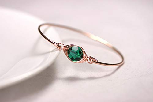 (Rose Gold Emerald Bangle Bracelet with Swarovski Crystal Wire Wrapped Rose or Yellow Gold Filled for Women)