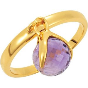 Jambs Jewelry 18K Yellow Vermeil Amethyst Ring Size 6