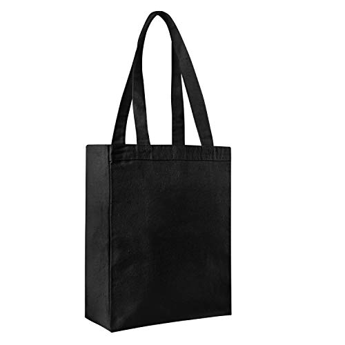 PACK OF 12 - Heavy Canvas Blank Reusable 12oz. Thick and Durable Shopping Tote Bags with Full Side and Bottom Gusset - Book Bags - Gift Favor Tote Bags in Bulk (Black) (Bag Favor Spa)