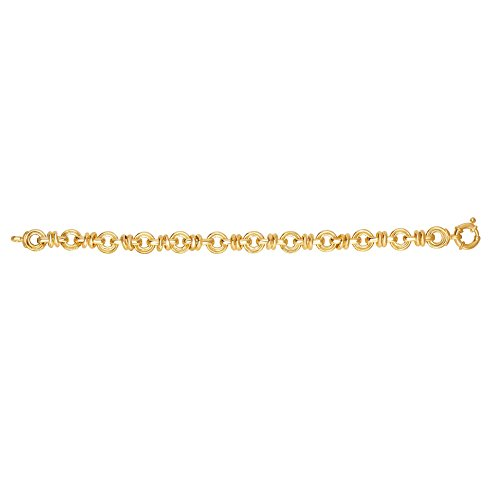 14kt Gold 8'' Yellow Finish 13.2mm Shiny Oval Fancy Link Bracelet with Lobster Clasp by BH 5 Star
