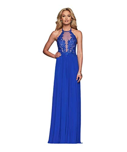 Faviana - Lace Appliqued Illusion Halter Evening Dress S10203 Navy