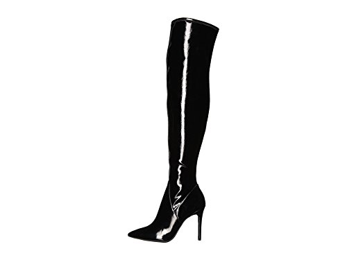 (Jessica Simpson Loring Black Crinkle Patent Stretch Over the Knee Fitted Boot (7.5))