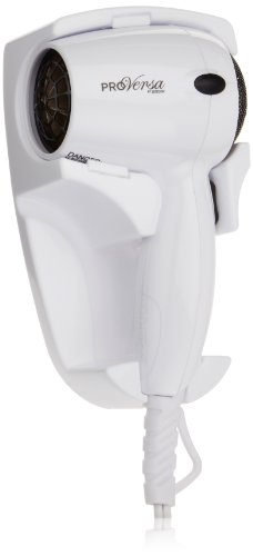 Jerdon JHD41W Wall Mount Hair Dryer with 2-Speed and Heat Settings, 1600-Watts, White Finish
