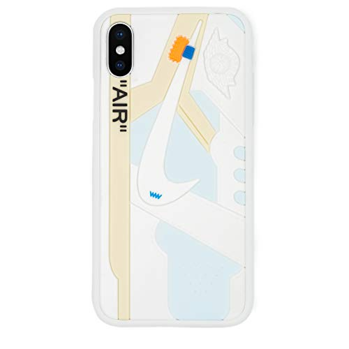 iPhone Shoe Case, of Chicago/White 1's Official 3D Print Textured Shock Absorbing Protective Sneaker Fashion Case (White, iPhone X)
