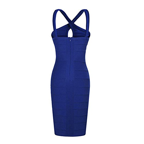TOOGOO(R) Femmes Sexy Mince Cocktail Soiree Clubwear Bandage Robe Crayon Bleu Taille M