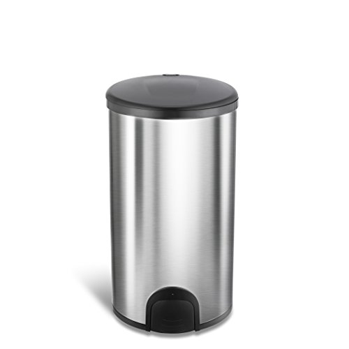 Ninestars TTT-45-8 Toe Tap Round Trash Can, 11.9 Gal. 45 L, SilverBlack (2 Step Cross Commercial)