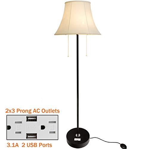 Floor Lamp, Briever Multi-Functional Standing Light with 2 USB Charging Ports& 2 AC Outlets, 2 Light Modern Standing Pole Lamp with Beige Fabric Shade Perfect for Living Room,Bedrooms, Office
