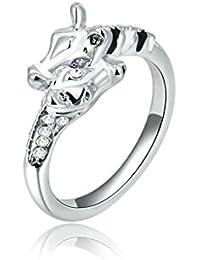 Fashion Jewellry Platinum Plated Womens Wedding Ring Gentlemen Giraffe Cubic Zirconia White Gold