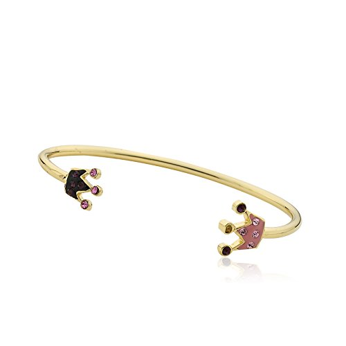 Molly Glitz Girls' Pretty Princess 14k Gold-Plated Pink Crystal Crown Bracelet