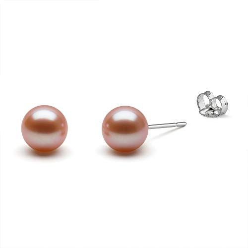 HinsonGayle AAA GEM 7.5-8mm Pink Round Freshwater Cultured Pearl Stud Earrings (14K White ()