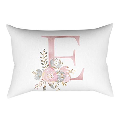 QBQCBB 30x50 cm Kinder Zimmer Dekoration Brief Kissen Englisch Alphabet Pillowcases(E)