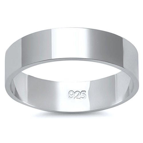 Solid Flat Sterling Silver Women's Mens Unisex Wedding Band Ring Comfort 5mm Size 7 18kt Comfort Fit Wedding Band